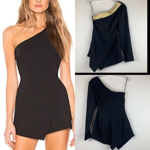NWT By the Way Gold Trim Alexa One Shoulder Romper